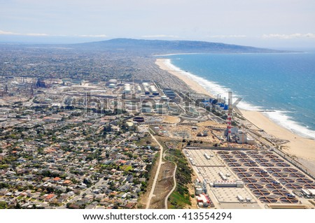 LOS ANGELES, CALIFORNIA, USA - APRIL 26, 2014 : Aerial view of Manhattan Beach and Hermosa Beach, Los Angeles, California, USA - stock photo
