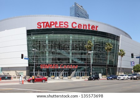LOS ANGELES, CALIFORNIA, USA - APRIL 16 : The Staples Center in Downtown Los Angeles on April 16, 2013. It is 950,000 SF and is home to the Lakers team and seats up to 19,060 for basketball - stock photo