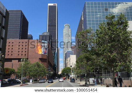 LOS ANGELES, CALIFORNIA, USA - APRIL 14, 2012 - View of Downtown Los Angeles on April 14, 2012.  The 1,018 ft white US Bank Tower is the tallest building west of the Mississippi.