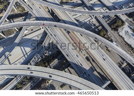 Los Angeles, California, USA - August 6, 2016:  Harbor 110 and Century 105 freeway interchange aerial south of downtown Los Angeles in southern California.