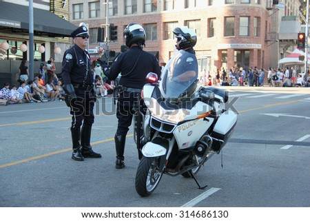 Los Angeles, California, USA - August 16, 2015: Los Angeles Police Department is the third largest municipal police department after New York City Police Department and Chicago Police Department. - stock photo