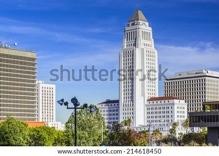 Los Angeles, California, USA downtown cityscape at City Hall. - stock photo