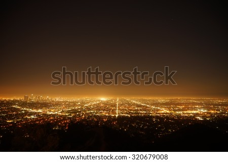 Los Angeles, California, USA downtown skyline at night. - stock photo
