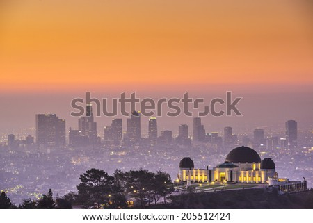 Los Angeles, California, USA downtown skyline from Griffith Park. - stock photo