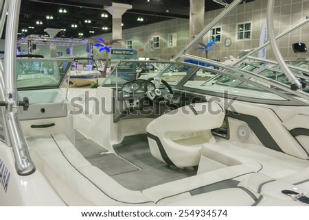 Los Angeles, California, USA - February 19, 2015 - Boat interior on display at the Progressive Los Angeles Boat Show in L.A. Convention Center.