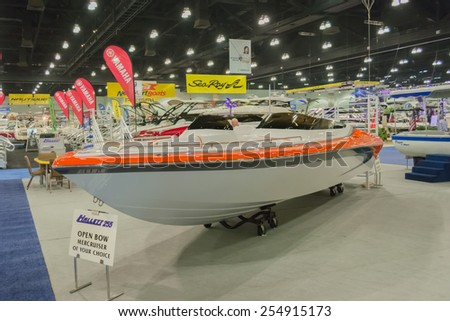 Los Angeles, California, USA - February 19, 2015 - Hallett 255 boat on display at the Progressive Los Angeles Boat Show in L.A. Convention Center.