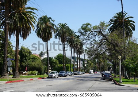 Los Angeles, California, USA - JUNE 23, 2017: Hollywood Hills street view and expensive houses