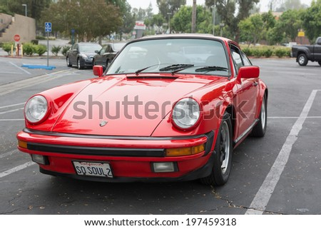 LOS ANGELES, CALIFORNIA - USA - JUNE 8, 2014: Porsche on exhibition at the annual event Supercar Sunday Ferrari Day on June 8, 2014 in Los Angeles, USA.
