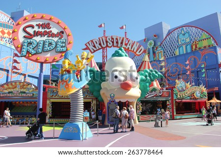 Los Angeles, California, USA - March 12, 2015: The Simpsons Ride, located on upper lot of Universal Studios Hollywood, is a family friendly simulator adventure through Springfield. - stock photo