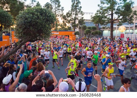Los Angeles, California, USA - March 15, 2015: Unidentified runners at the start of th 30th LA Marathon Edition in the 30th LA Marathon Edition - stock photo