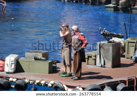 Los Angeles, California, USA - March 12, 2015: Water Stunt Show called Waterworld: A Live Sea War Spectacular at Universal Studios Hollywood - stock photo