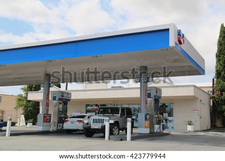 Los Angeles, California, USA - May 8, 2016: Chevron Corporation is an American multinational energy corporation engaged in every aspect of the oil, natural gas, and geothermal energy industries.