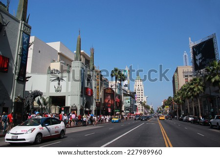 Los Angeles, California, USA - May 19, 2014: Hollywood Boulevard, one of the top destinations in Los Angeles, California, lined with many Hollywood movie attractions - stock photo