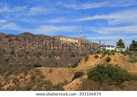 Los Angeles, California, USA - November 10, 2014: The Hollywood Sign is a landmark and American cultural icon located in the Hollywood Hills area of the Santa Monica Mountains in Los Angeles. - stock photo