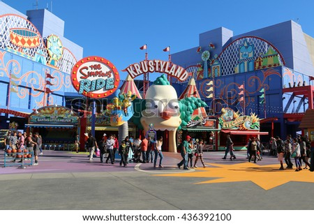 Los Angeles, California, USA - November 22, 2015: The Simpsons Ride, located on upper lot of Universal Studios Hollywood, is a family friendly simulator adventure through Springfield.