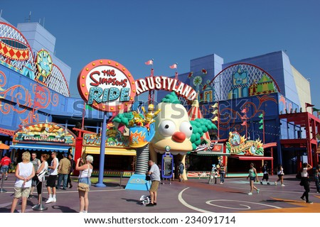 Los Angeles, California, USA - October 10, 2014: The Simpsons Ride, located on upper lot of Universal Studios Hollywood, is a family friendly simulator adventure through Springfield. - stock photo