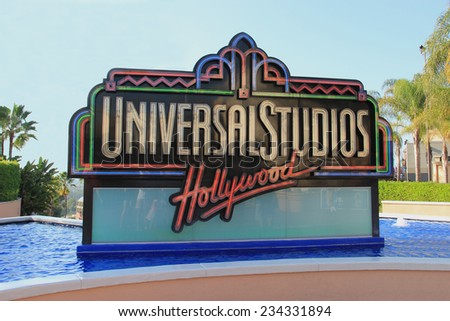 Los Angeles, California, USA - October 10, 2014: Universal Studios Hollywood, the Entertainment Capital of LA, is the first film studio and theme park of Universal Studios across the world. - stock photo