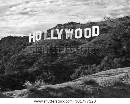 LOS ANGELES, CALIFORNIA, USA - September, 29th 2010:  The famous Hollywood sign in popular Griffith Park. - stock photo