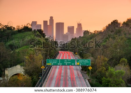 Los Angeles, California, USA skyline and highway. - stock photo