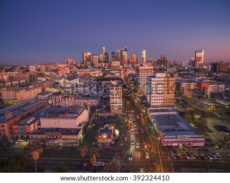 LOS ANGELES - Circa 2014: Aerial view of  historic Westlake neighborhood in the city of Los Angeles, California. - stock photo