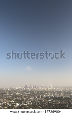 Los Angeles City in California. Aerial View. Vertical HDR Image - stock photo