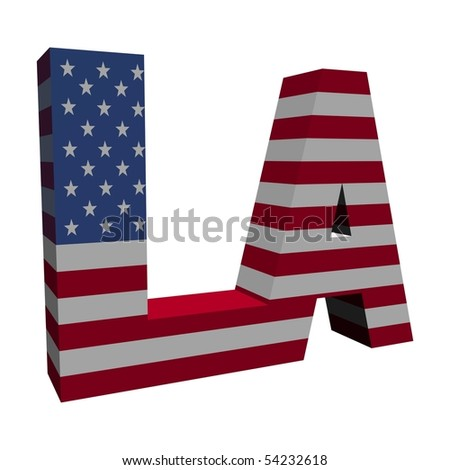 Los Angeles 3d text with American flag on white illustration - stock photo