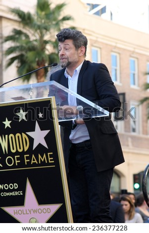 LOS ANGELES - DEC 8:  Andy Serkis at the Peter Jackson Hollywood Walk of Fame Ceremony at the Dolby Theater on December 8, 2014 in Los Angeles, CA - stock photo