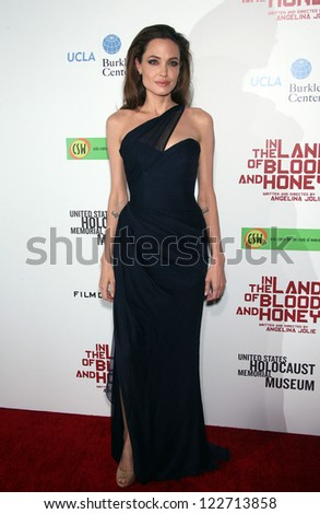"""LOS ANGELES - DEC 8:  Angelina Jolie """"In The Land of Blood and Honey"""" Los Angeles Premiere  on December 08, 2011 in Hollywood, CA - stock photo"""