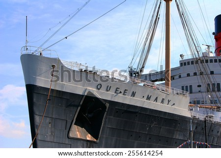 LOS ANGELES - DEC 21: Antique Cruise ship Queen Mary homeported on December 21st, 2008 in Long Beach, California, USA. - stock photo