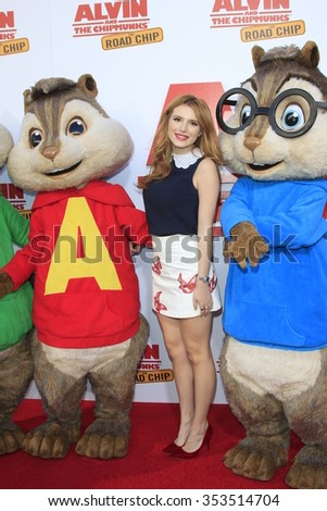 "LOS ANGELES - DEC 12:  Bella Thorne  at the ""Alvin And The Chipmunks: The Road Chip"" Los Angeles Premiere at the Zanuck Theater, 20th Century Fox Lot on December 12, 2015 in Los Angeles, CA"