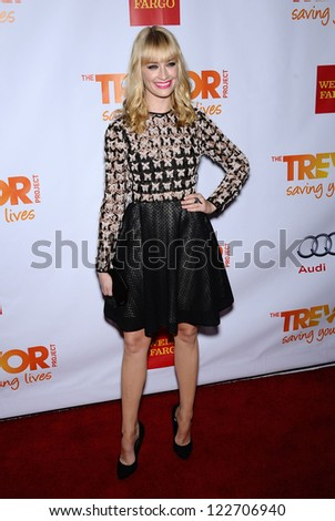 LOS ANGELES - DEC 02:  Beth Behrs arrives to Trevor Project Honors Katy Perry  on December 02, 2012 in Hollywood, CA - stock photo