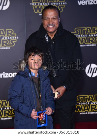 "LOS ANGELES - DEC 14:  Billy Dee Williams arrives to the ""Star Wars: The Force Awakens"" World Premiere  on December 14, 2015 in Hollywood, CA.                 - stock photo"