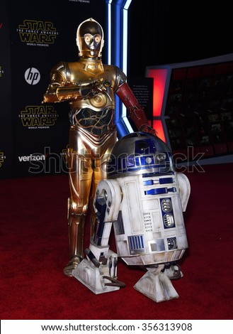 "LOS ANGELES - DEC 14:  C-3P0 & R2-D2 arrives to the ""Star Wars: The Force Awakens"" World Premiere  on December 14, 2015 in Hollywood, CA.                 - stock photo"