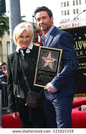 LOS ANGELES - DEC 13:  Deborra-Lee Furness, Hugh Jackman at the Hollywood Walk of Fame ceremony for Hugh Jackman on December 13, 2012 in Los Angeles, CA - stock photo