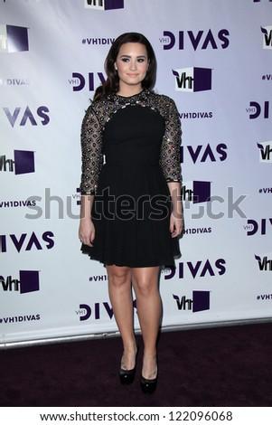 LOS ANGELES - DEC 16:  Demi Lovato arriving at the VH1 Divas Concert 2012 at Shrine Auditorium on December 16, 2012 in Los Angeles, CA - stock photo