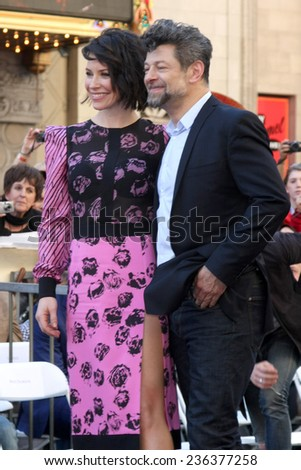 LOS ANGELES - DEC 8:  Evangeline Lilly, Andy Serkis at the Peter Jackson Hollywood Walk of Fame Ceremony at the Dolby Theater on December 8, 2014 in Los Angeles, CA - stock photo