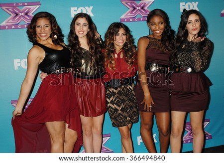 LOS ANGELES - DEC 20 - Fifth Harmony arrives at the X Factor 2012 Season Finale Day 2 on December 20, 2012 in Los Angeles, CA              - stock photo