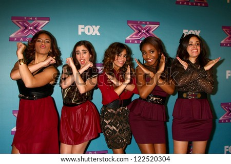 LOS ANGELES - DEC 20:  Fifth Harmony at the 'X Factor' Season Finale at CBS Television City on December 20, 2012 in Los Angeles, CA - stock photo
