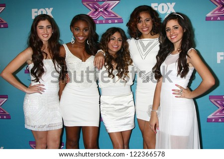 LOS ANGELES - DEC 19:  Fifth Harmony at the 'X Factor' Season Finale performances  show taping at CBS Television City on December 19, 2012 in Los Angeles, CA - stock photo