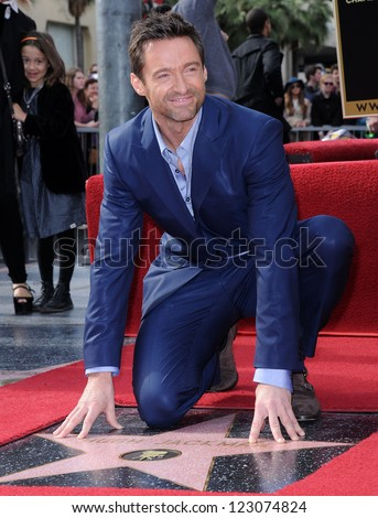 LOS ANGELES - DEC 12:  Hugh Jackman  arriving to Walk of Fame Honors Hugh Jackman  on December 12, 2011 in Hollywood, CA - stock photo