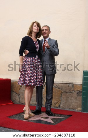 LOS ANGELES - DEC 1:  Jackie Waltz, Christoph Waltz at the Christoph Waltz Hollywood Walk of Fame Star Ceremony at the Hollywood Boulevard on December 1, 2014 in Los Angeles, CA - stock photo