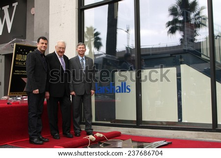 LOS ANGELES - DEC 11:  Jimmy Kimmel, Don Mischer, Leron Gubler at the Don Mischer Star on the Hollywood Walk of Fame at the Hollywood Boulevard on December 11, 2014 in Los Angeles, CA - stock photo