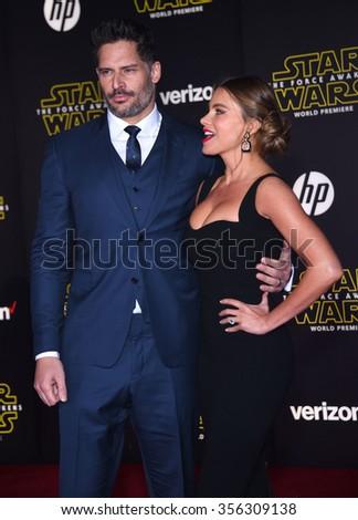 "LOS ANGELES - DEC 14:  Joe Manganiello & Sofia Vergara arrives to the ""Star Wars: The Force Awakens"" World Premiere  on December 14, 2015 in Hollywood, CA.                 - stock photo"