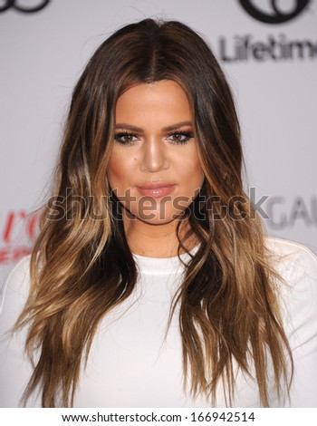 LOS ANGELES - DEC11:  Khloe Kardashian arrive to Women in Entertainment Breakfast 2013  on December 11, 2013 in Hollywood, CA                 - stock photo