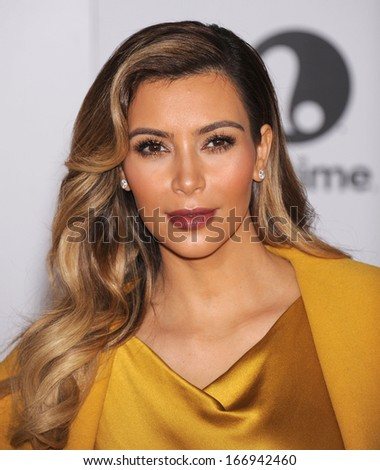 LOS ANGELES - DEC11:  Kim Kardashian arrive to Women in Entertainment Breakfast 2013  on December 11, 2013 in Hollywood, CA                 - stock photo