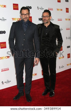 LOS ANGELES - DEC 6:  Lawrence Zarian, Gregory Zarian at the TrevorLIVE Gala at the Hollywood Palladium on December 6, 2015 in Los Angeles, CA - stock photo