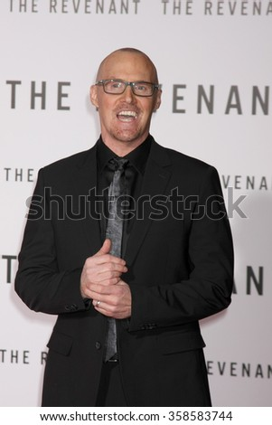 """LOS ANGELES - DEC 16:  Mark L. Smith at the """"The Revenant"""" at the TCL Chinese Theater on December 16, 2015 in Los Angeles, CA - stock photo"""