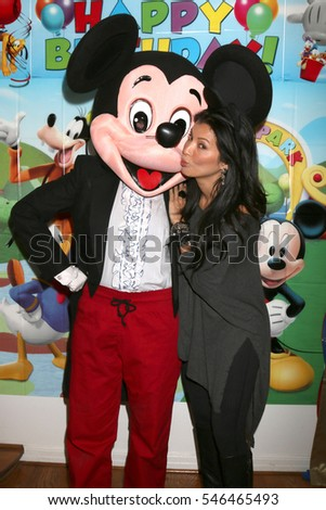 LOS ANGELES - DEC 4:  Mickey Mouse Character, Kelly Hu at the Amelie Bailey's 1st Birthday Party at Private Residence on December 4, 2016 in Studio CIty, CA