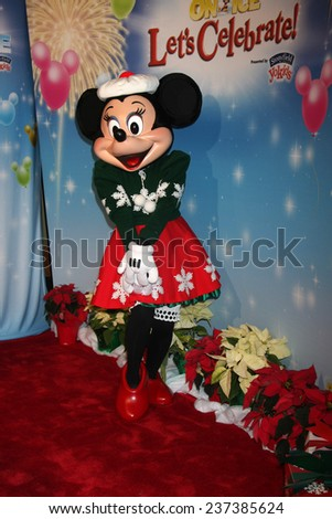 """LOS ANGELES - DEC 11:  Minnie Mouse at the """"Disney on Ice"""" Red Carpet Reception at the Staples Center on December 11, 2014 in Los Angeles, CA - stock photo"""