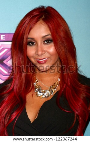 LOS ANGELES - DEC 19:  Nicole 'Snooki' Polizzi at the 'X Factor' Season Finale performances  show taping at CBS Television City on December 19, 2012 in Los Angeles, CA - stock photo
